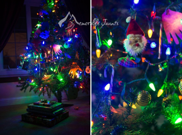 Christmas Tree with Lights and Gifts Photo